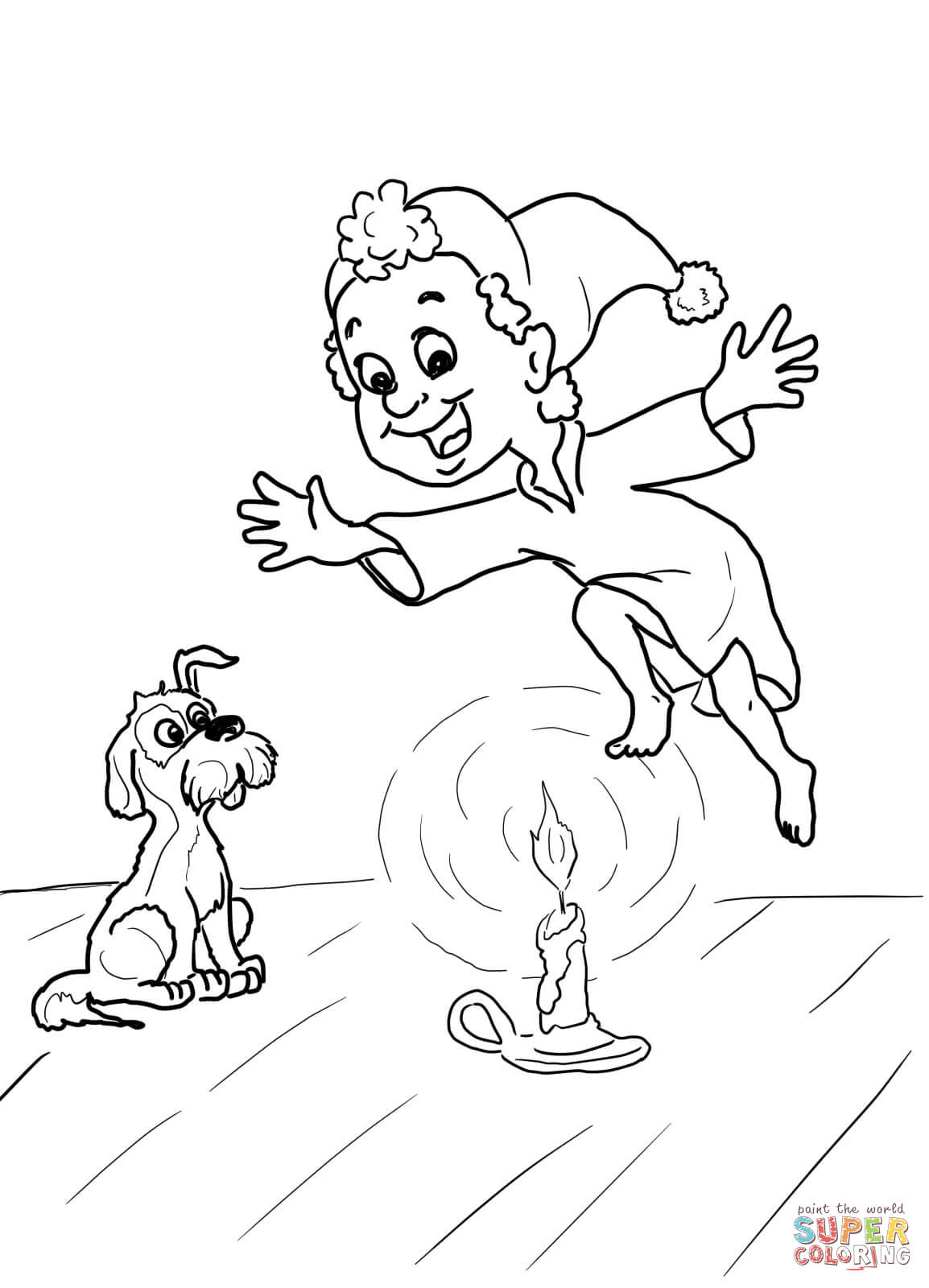 Jack Be Nimble Nursery Rhyme Coloring Page | Free Printable Coloring - Free Printable Nursery Rhyme Coloring Pages