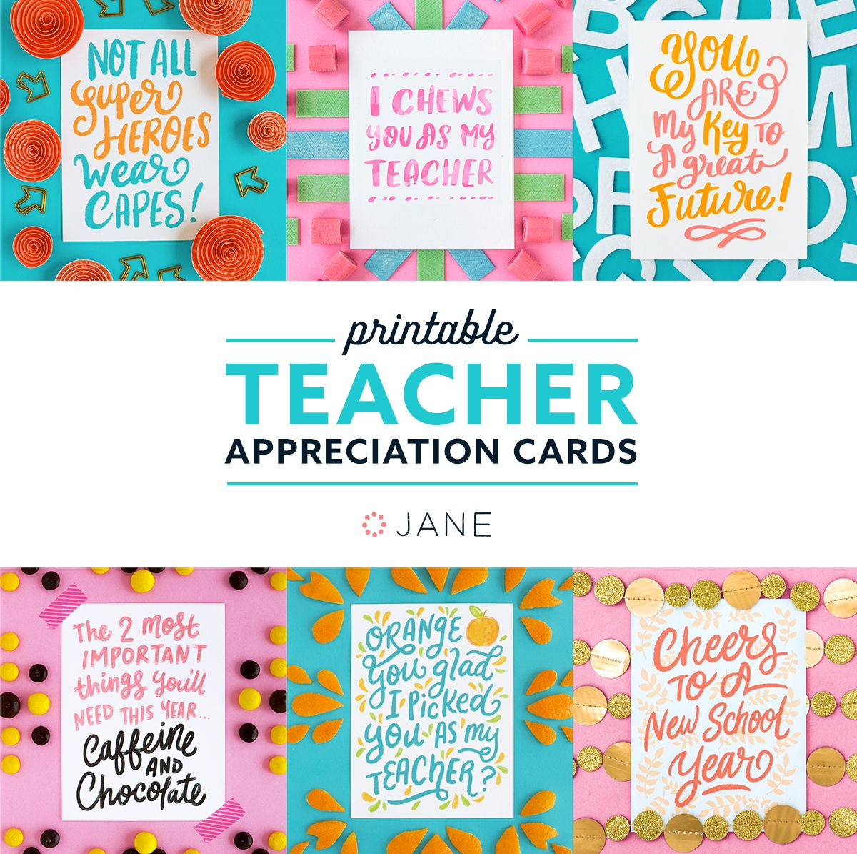 Jane Free Teacher Appreciation Printable Cards   Teacher - Free Teacher Appreciation Week Printable Cards