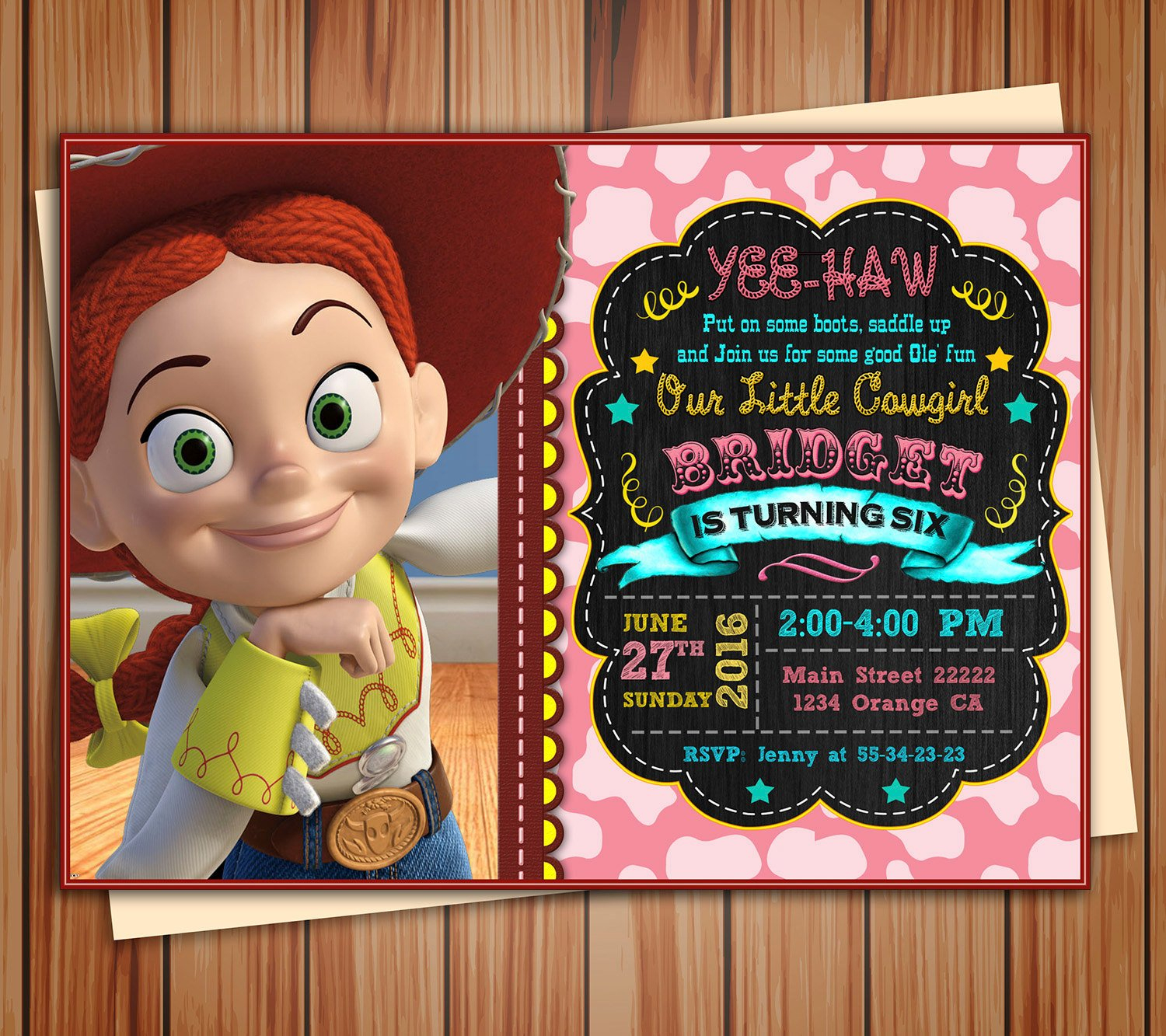 Jessie Cowgirl Toy Story Birthday Photo Invitation Chalkboard | Etsy - Toy Story Birthday Card Printable Free