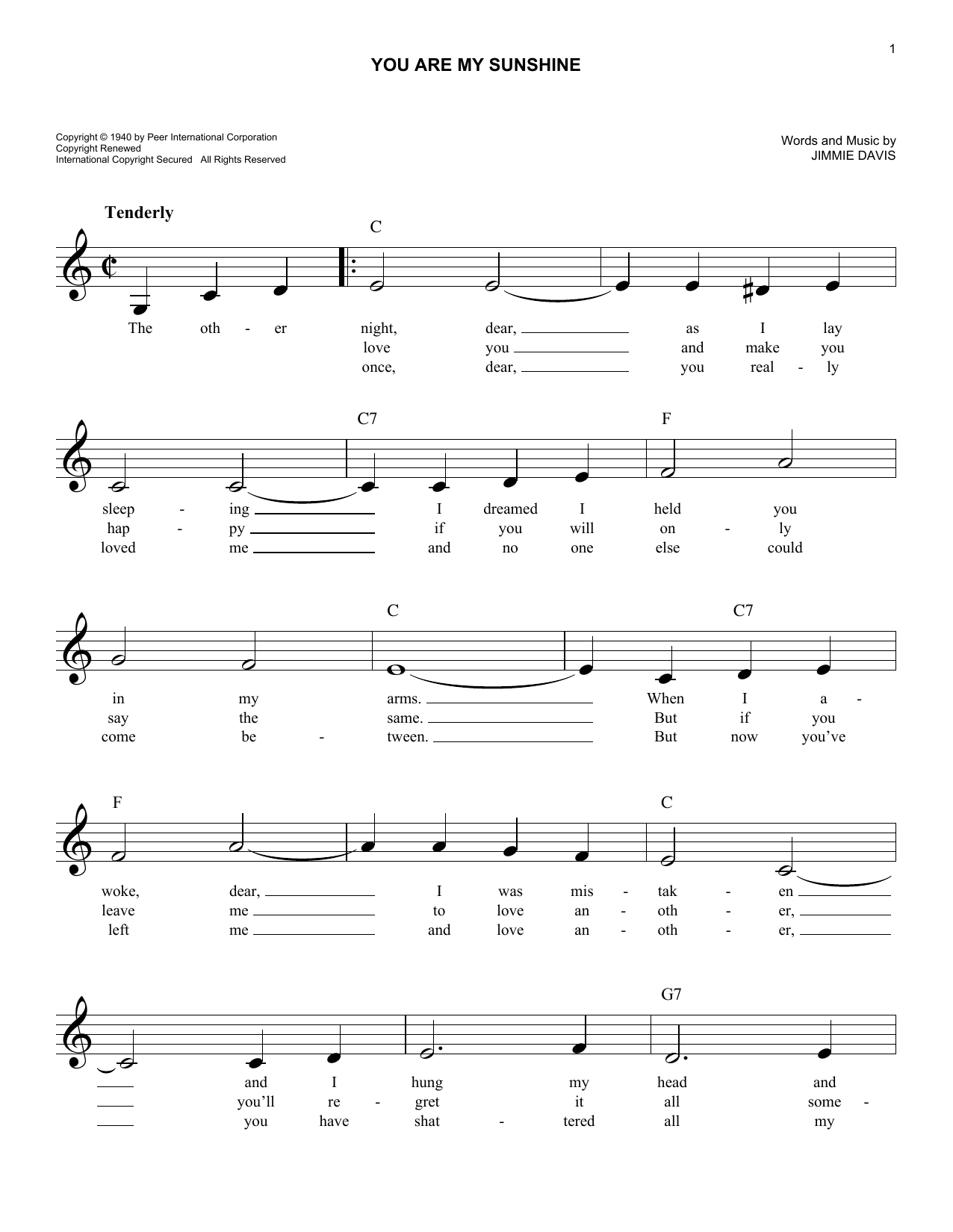 "Jimmie Davis ""you Are My Sunshine"" Sheet Music Notes, Chords - Free Printable Piano Sheet Music For You Are My Sunshine"
