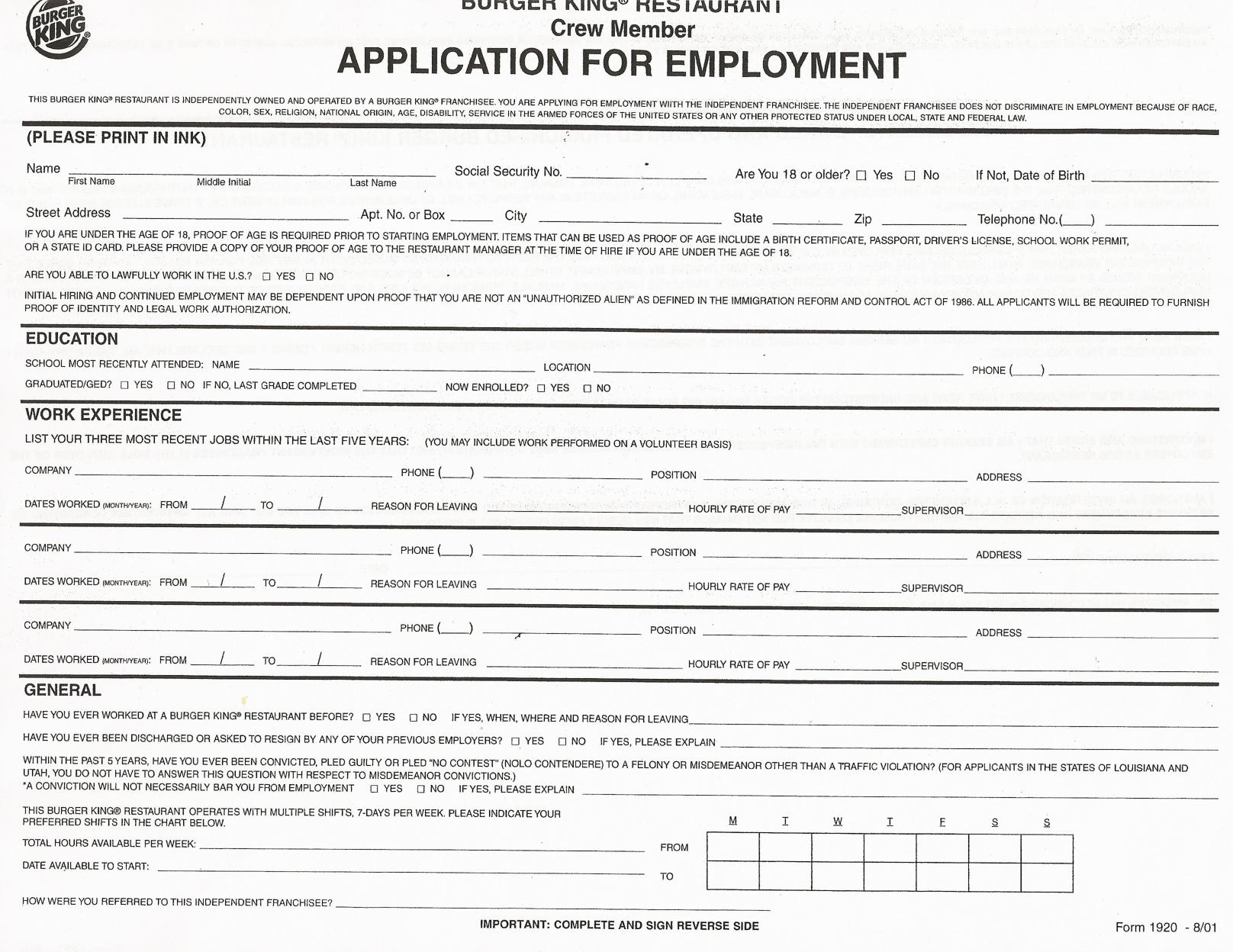 Job Application Forms To Print | Printable Job Application Forms - Application For Employment Form Free Printable