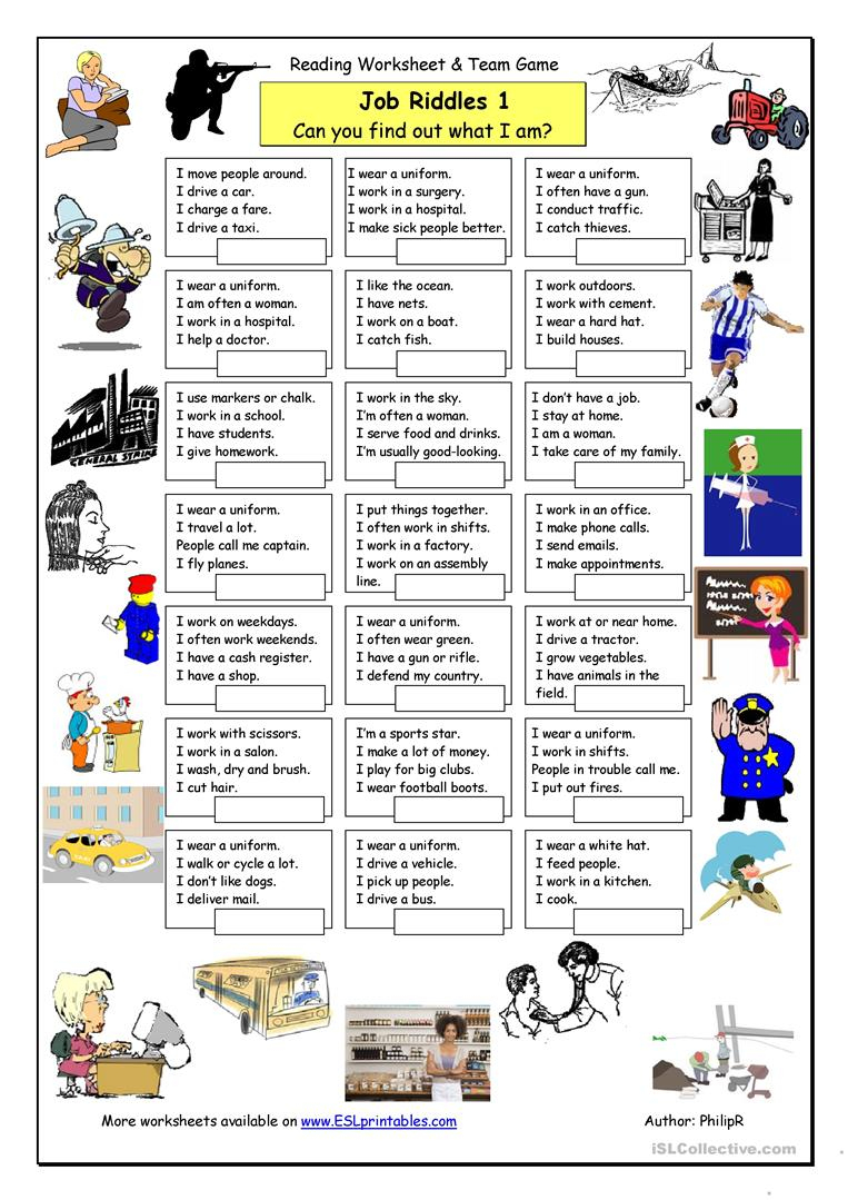 Job Riddles (1) - Easy Worksheet - Free Esl Printable Worksheets - Free Printable Riddles