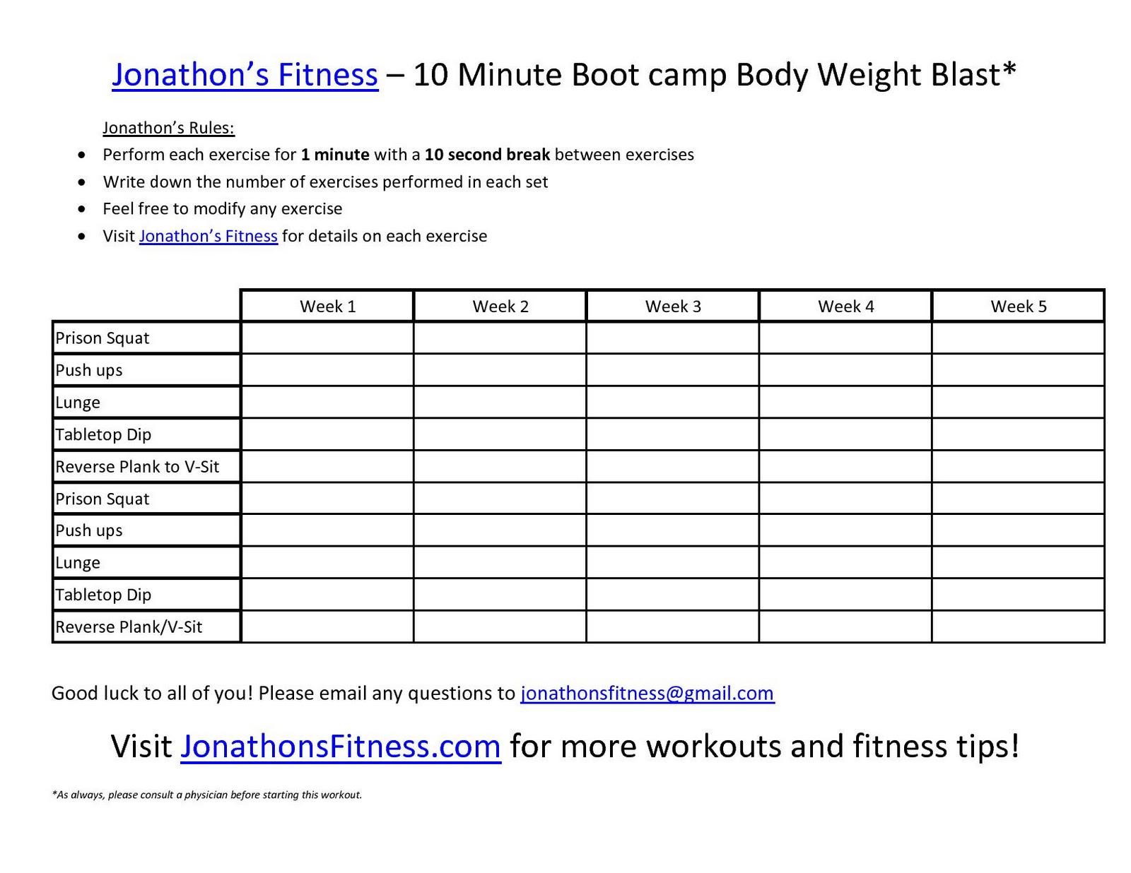 Jonathon's Fitness Site: Printable Workout Routine - Free Printable Gym Workout Routines