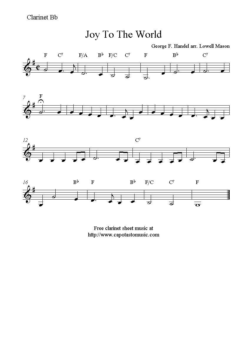 Joy To The World, Free Christmas Clarinet Sheet Music Notes - Free Printable Clarinet Music