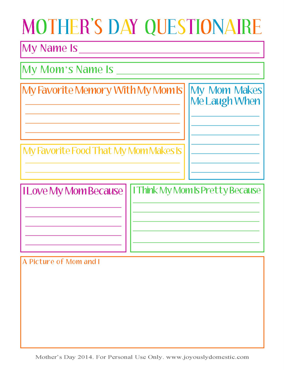 Joyously Domestic: Free Mother's Day Questionnaire Printable - Free Printable Mothers Day Questions