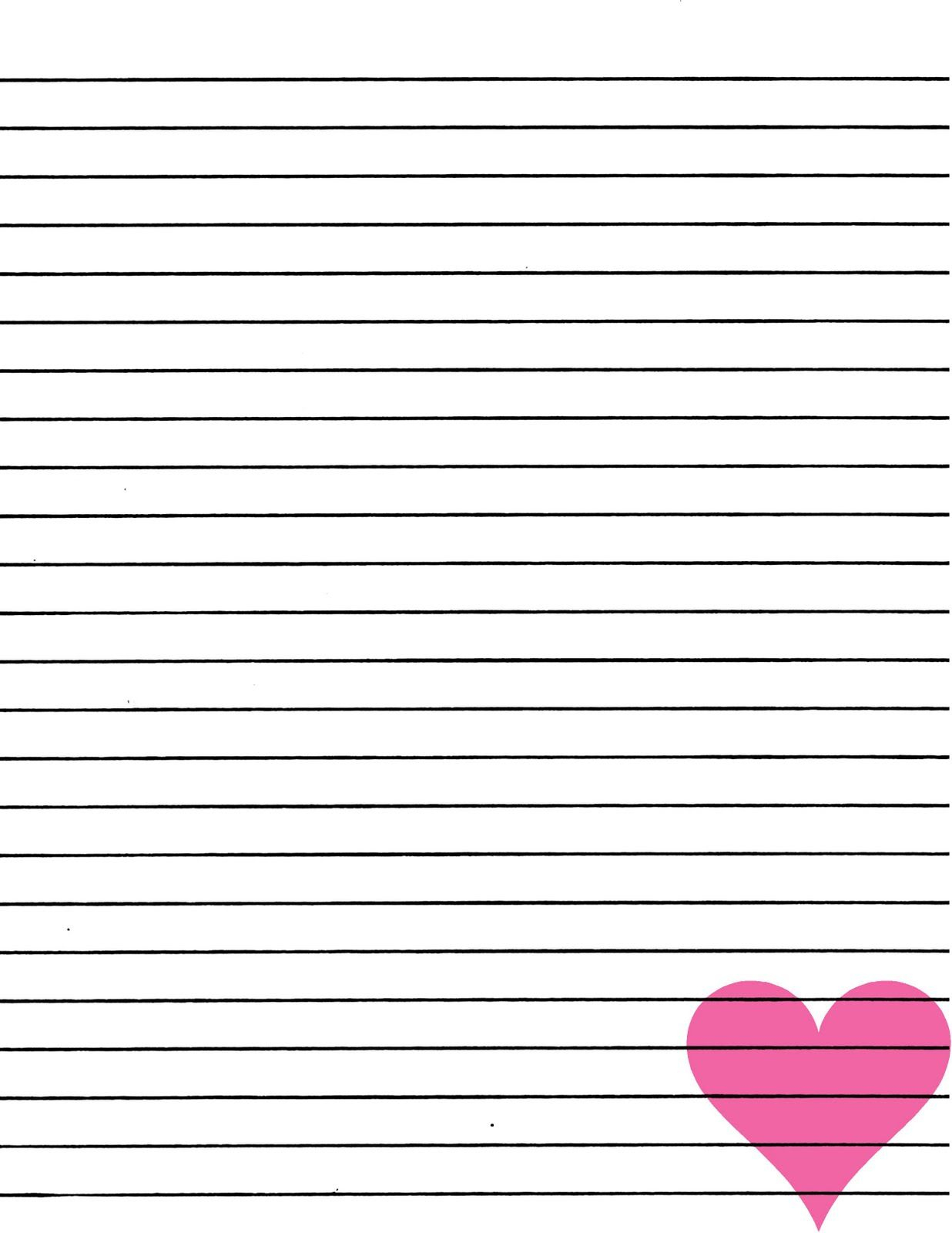 Just Smashing Paper: Freebie!! Pink Heart Lined Paper Printable - Free Printable Lined Paper