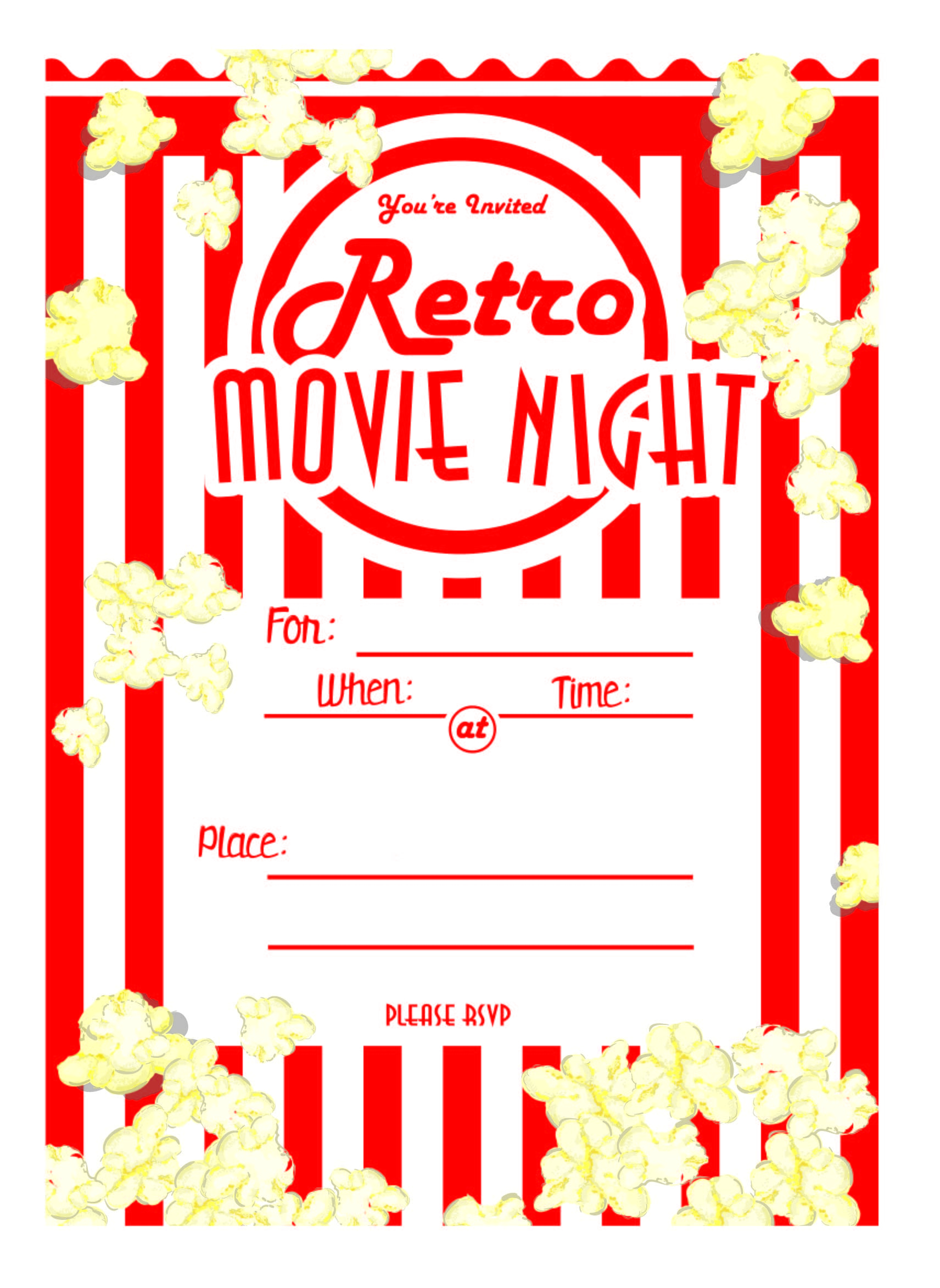 Kara S Party Ideas Movie Night Party With Free Printables Ideas Of - Free Printable Movie Themed Invitations