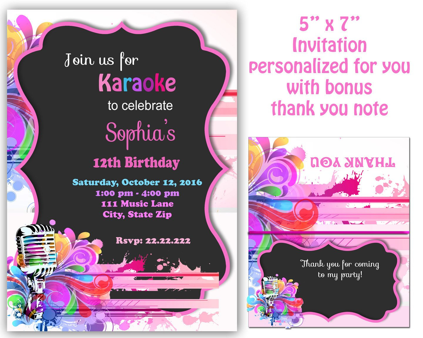 Karaoke Invitation Karaoke Party Invitation Karaoke | Etsy - Free Printable Karaoke Party Invitations