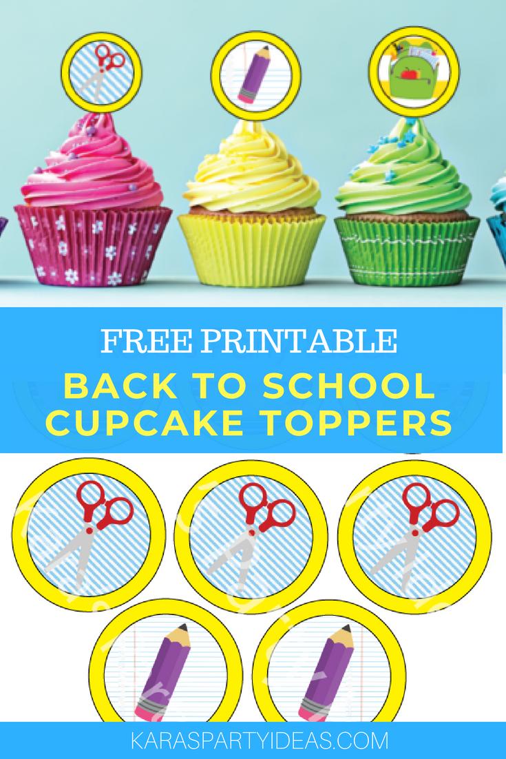 Kara's Party Ideas Free Printable Back To School Cupcake Toppers - Free Printable Cupcake Toppers