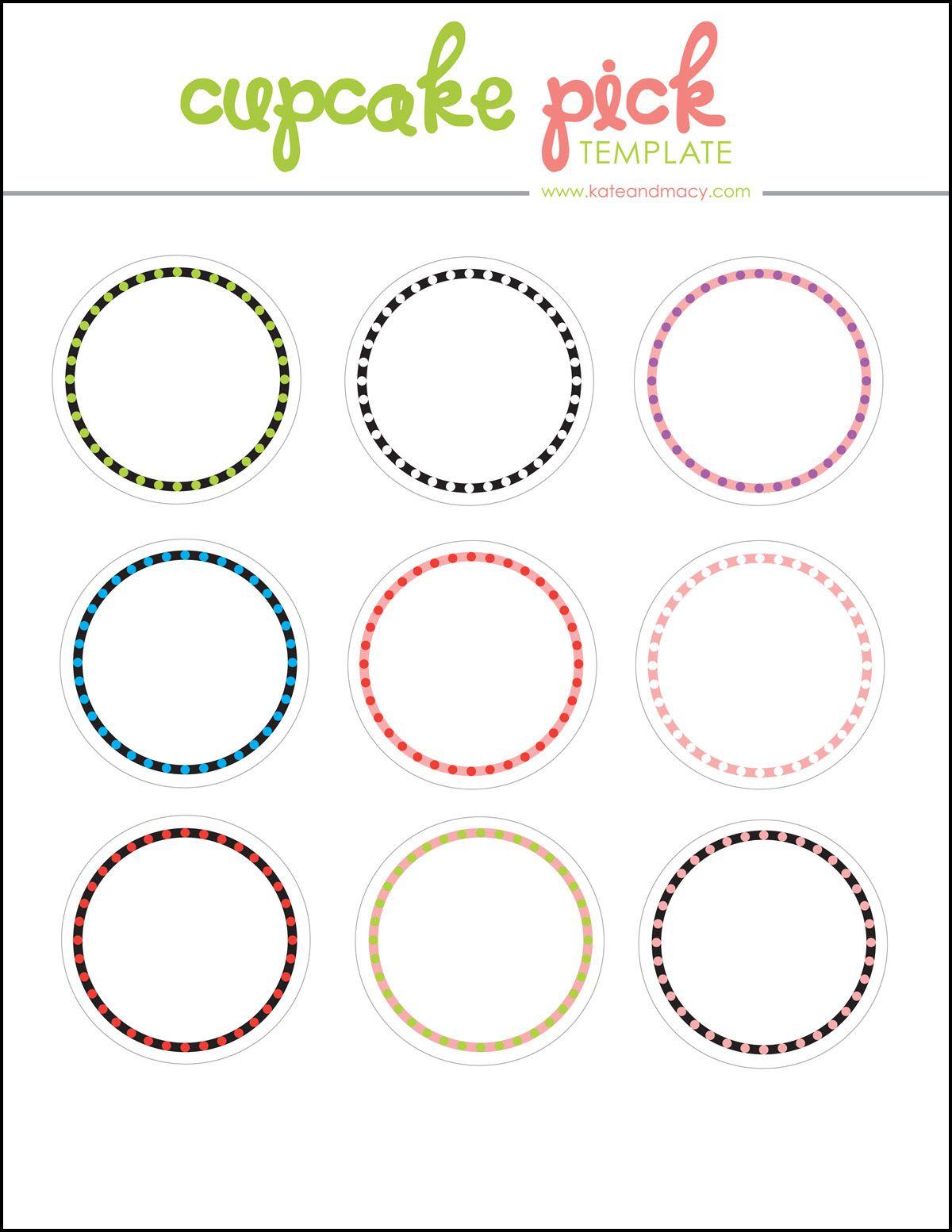 Kate: Free Digital Cupcake Pick Topper Template   Printables - Baptism Cupcake Toppers Printable Free