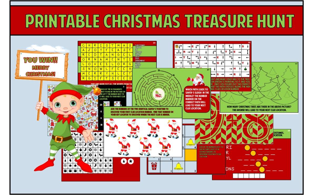Kids Christmas Treasure Hunt Party Game ~ Printable - Free Printable Christmas Games For Preschoolers
