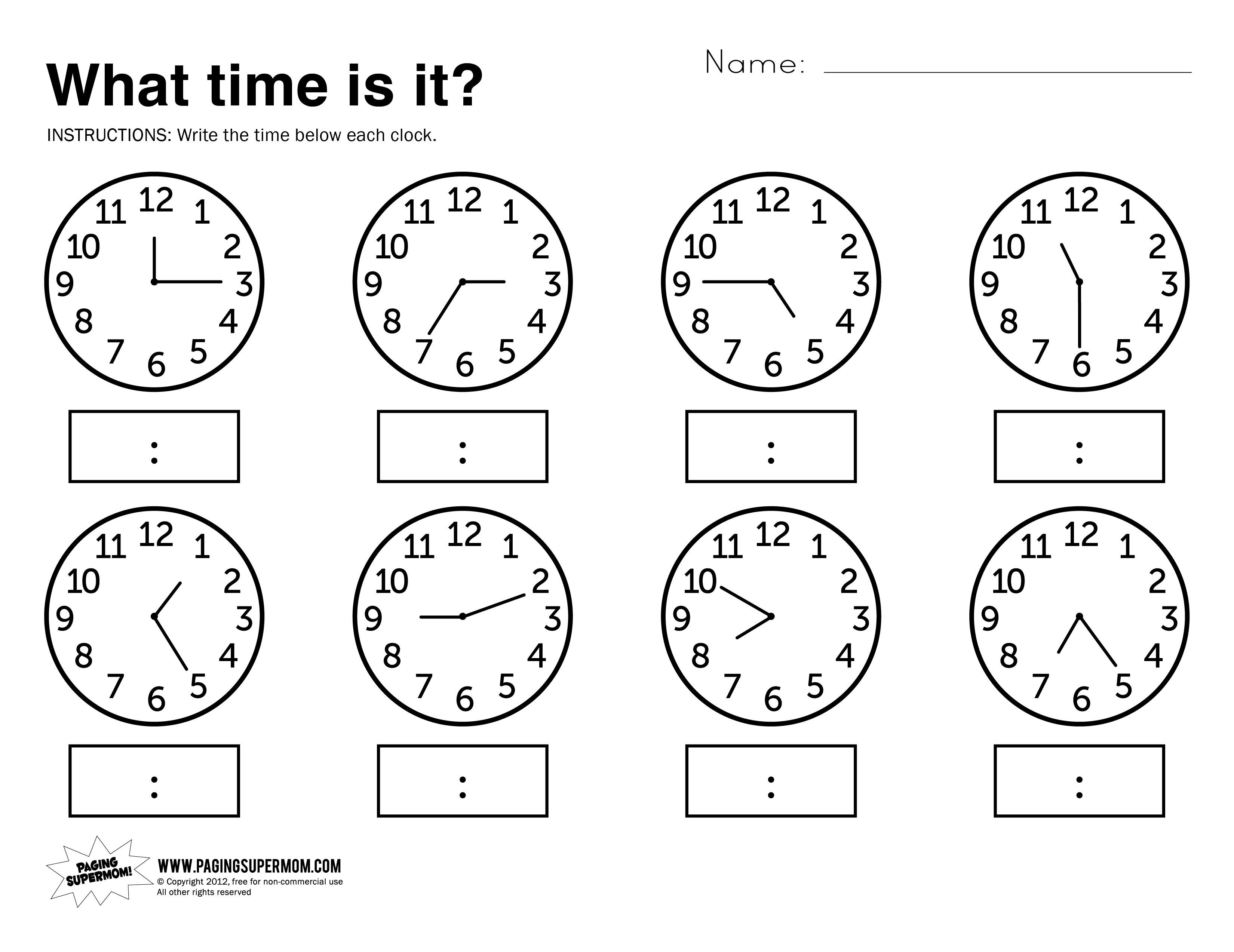 Kids : Free Printable Telling Time Worksheets Printableworksheets - Free Printable Telling Time Worksheets For 1St Grade