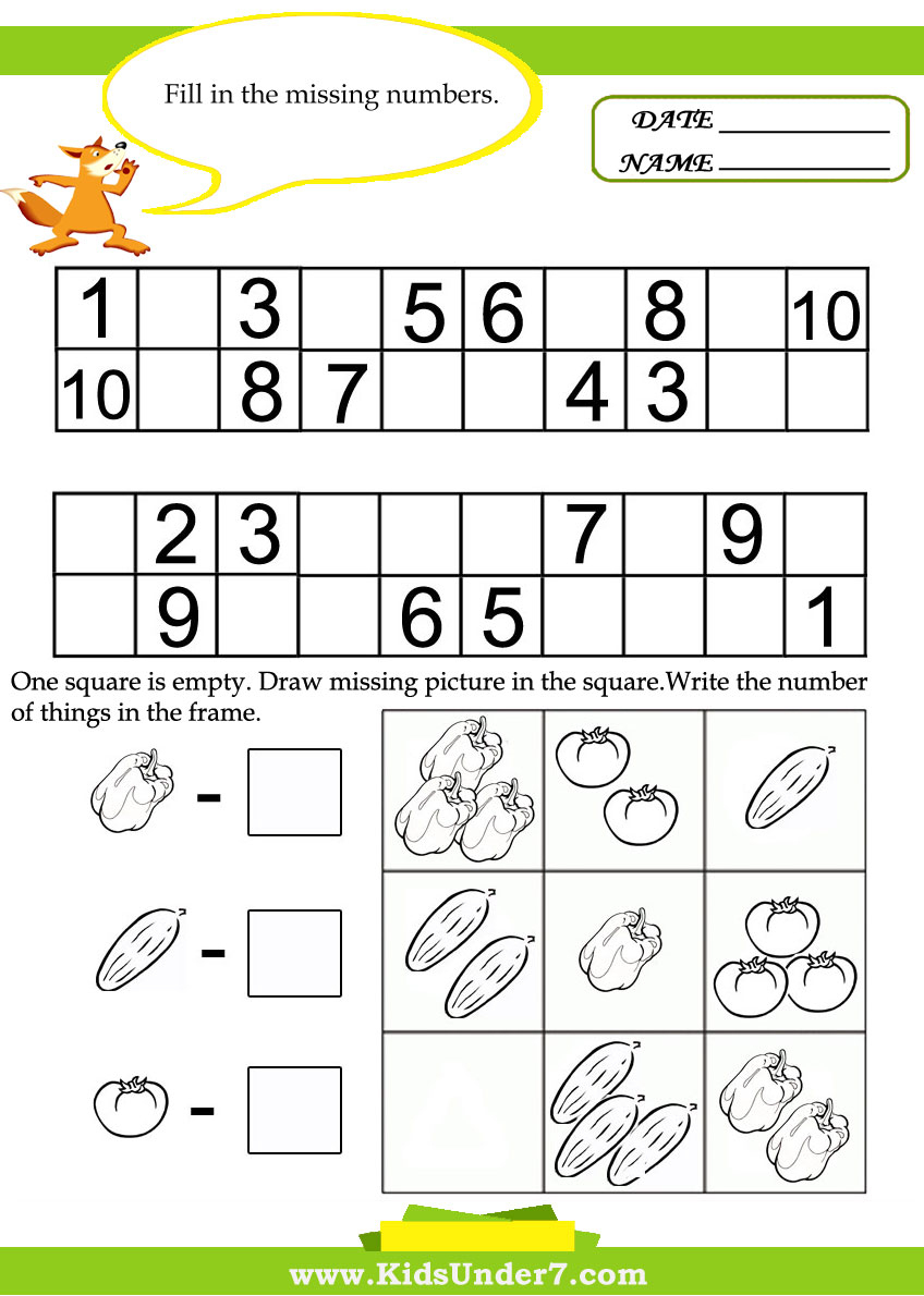 Kids Under 7: Kids Math Worksheets - Free Printable Math Worksheets For Kids