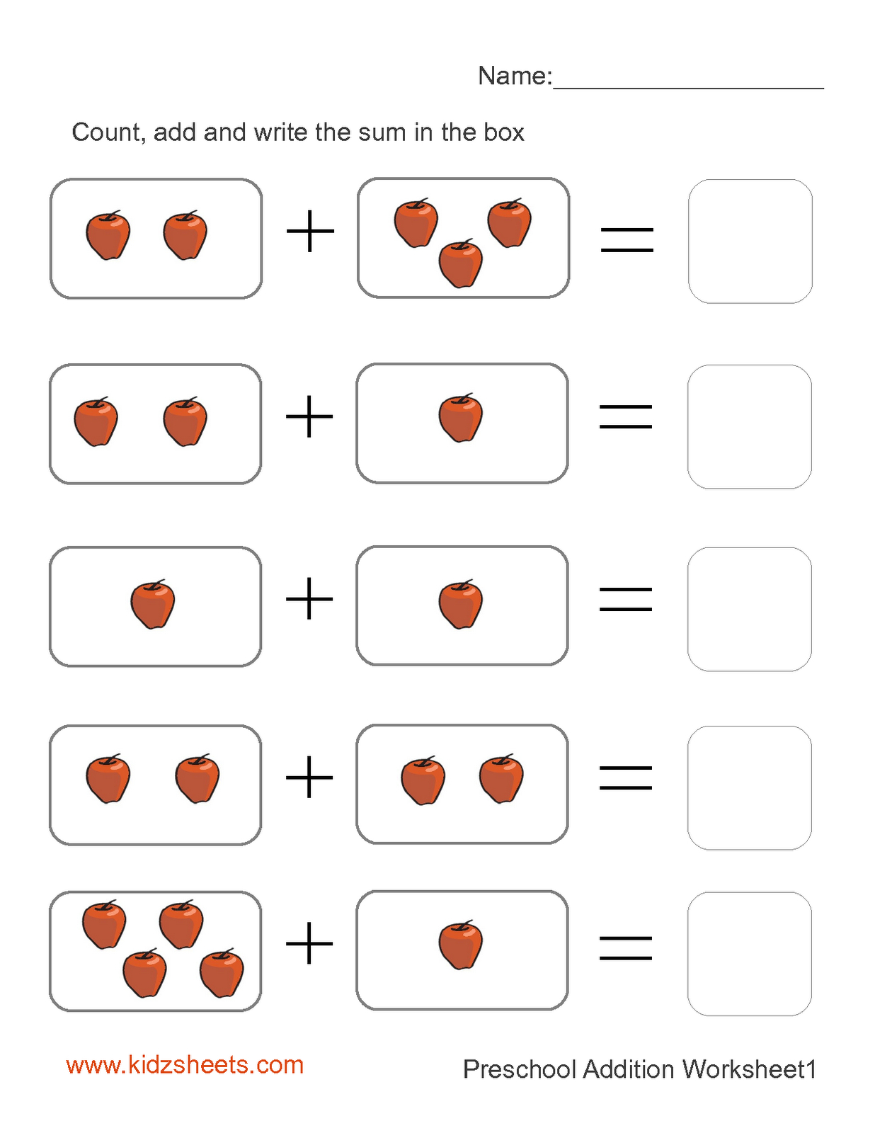 Kidz Worksheets: Preschool Addition Worksheet1 - Free Printable Preschool Addition Worksheets