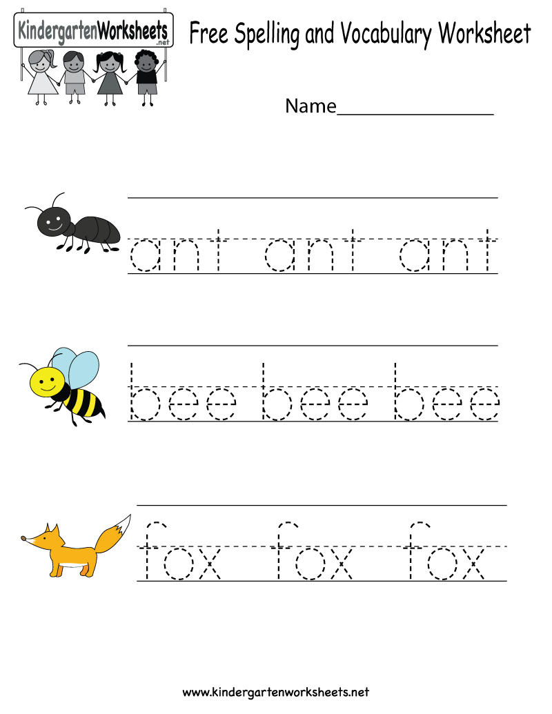 Kindergarten Free Spelling And Vocabulary Worksheet Printable - Free Printable Spelling Worksheets For Adults