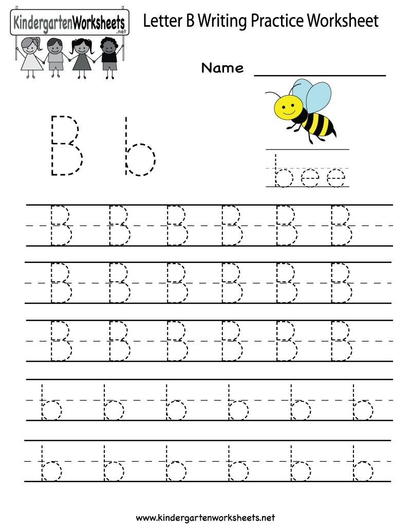 Kindergarten Letter B Writing Practice Worksheet Printable   Things - Preschool Writing Worksheets Free Printable
