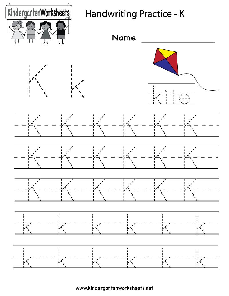 Kindergarten Letter K Writing Practice Worksheet Printable - Free Printable Letter K Worksheets