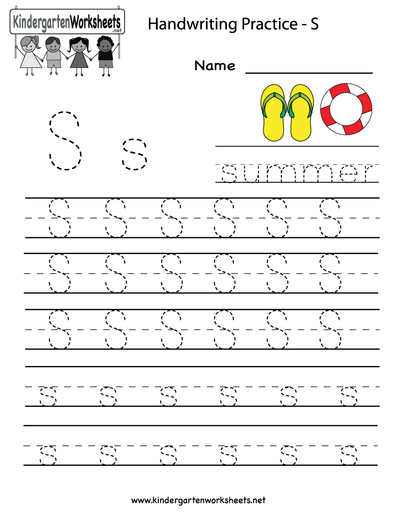 Kindergarten Letter S Writing Practice Worksheet Printable | G - Free Printable Letter Writing Worksheets
