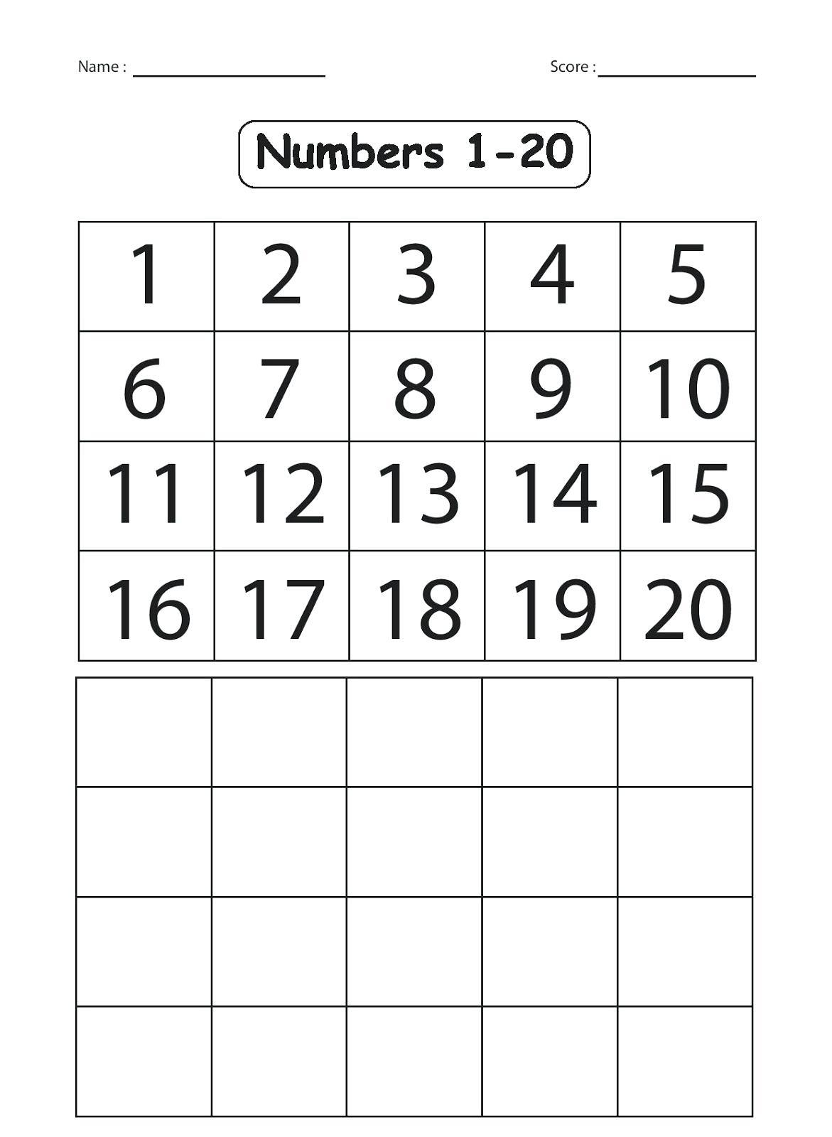 Kindergarten Number Worksheets 1 20 Worksheets Numbers 1 For - Free Printable Numbers 1 20 Worksheets