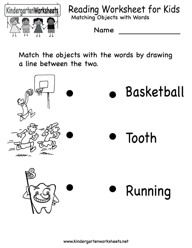 Kindergarten Reading Worksheet For Kids Printable | Worksheets - Free Printable English Reading Worksheets For Kindergarten