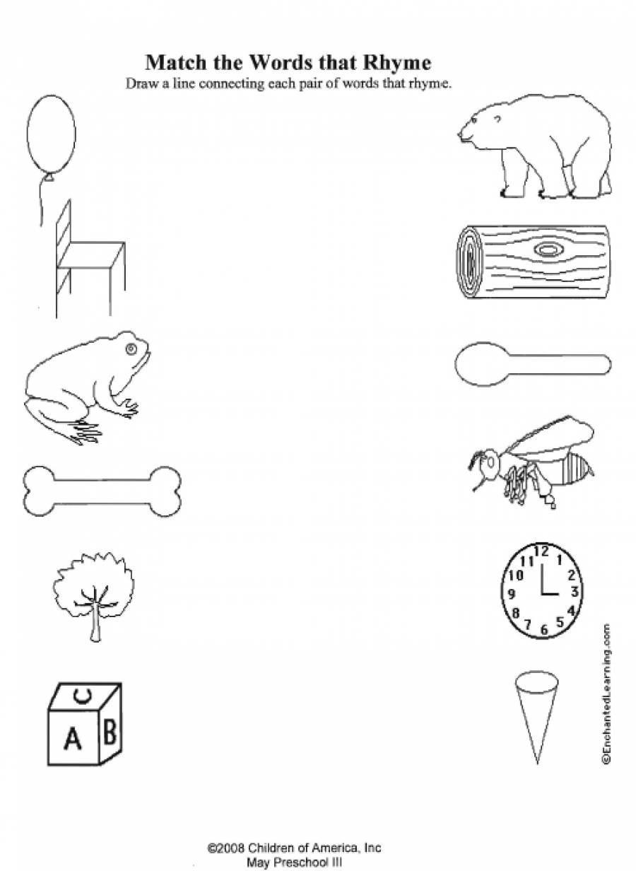Kindergarten Rhyming Words New Kindergarten Worksheet Rhyming Words - Free Printable Rhyming Activities For Kindergarten