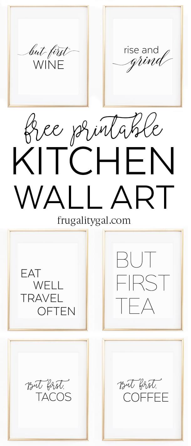 "Kitchen Wall Art - 8X10"" Set Of Six Prints - Free Printable - Free Coffee Printable Art"