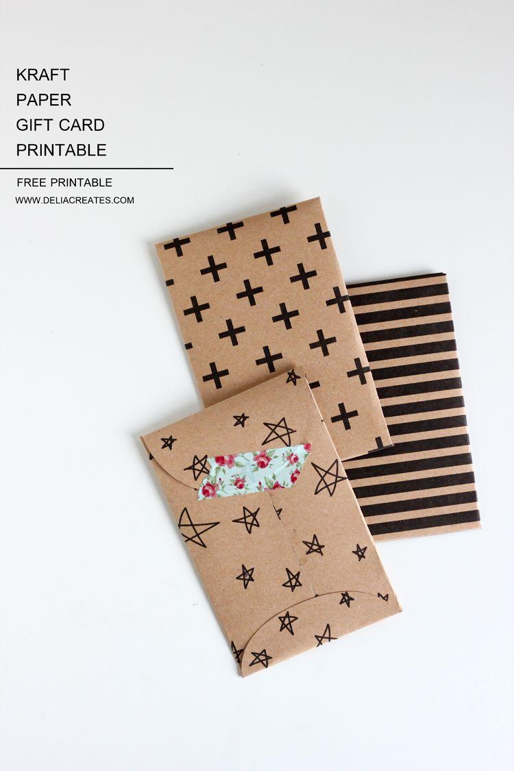 Kraft Paper Gift Card Envelope Free Printable   Diy - Papers - Free Printable Gift Card Envelope Template