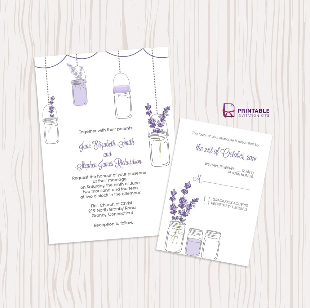 Lavender And Mason Jar Wedding Invitation | Free Printable Wedding - Free Printable Wedding Invitation Kits