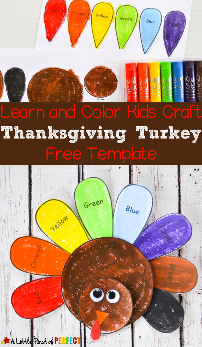 Learn And Color Thanksgiving Turkey Craft And Free Template For Kids - Free Printable Turkey Craft