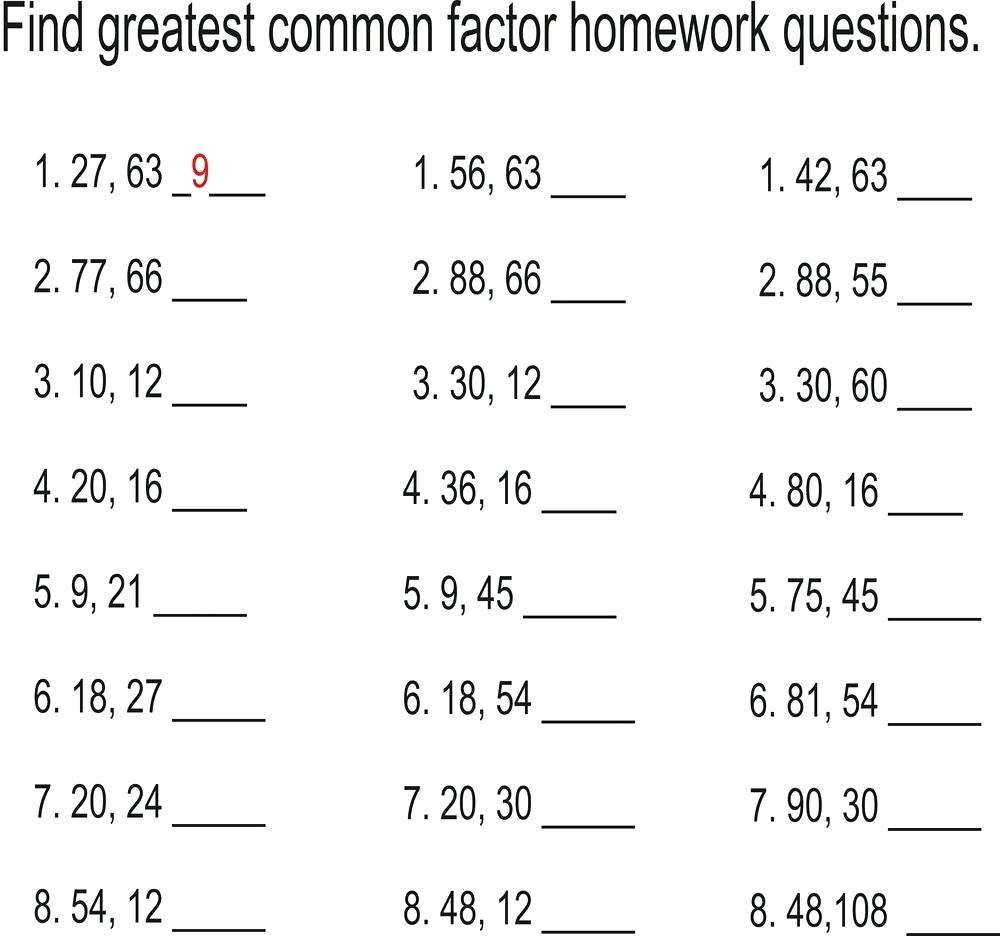 Least Common Multiple And Greatest Common Factor Worksheet Math - Free Printable Greatest Common Factor Worksheets