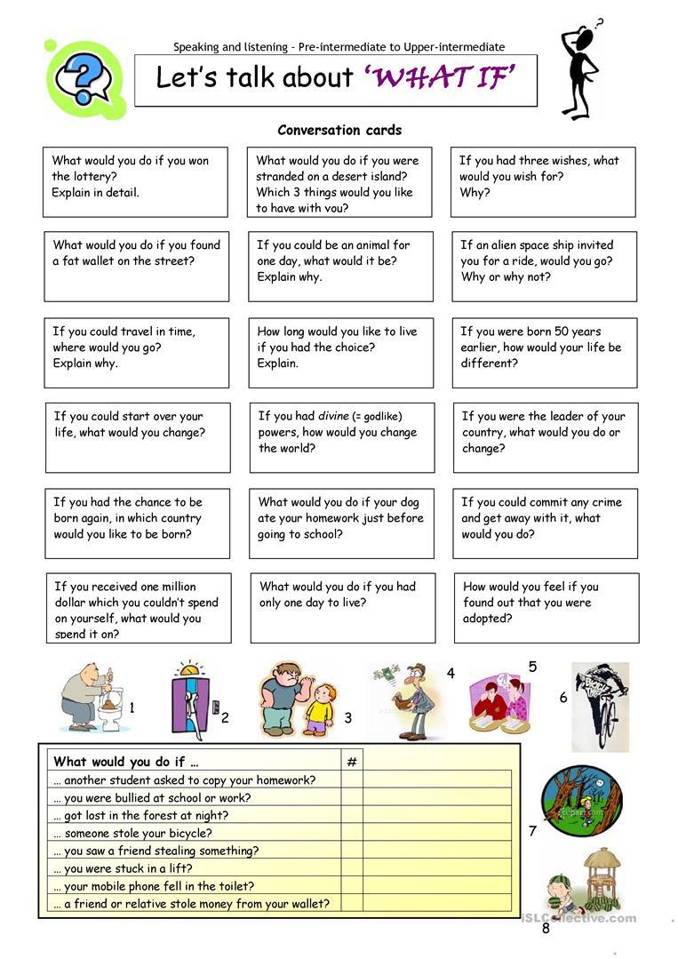 Let´s Talk About ´what If´ Worksheet - Free Esl Printable Worksheets - Free Printable English Conversation Worksheets