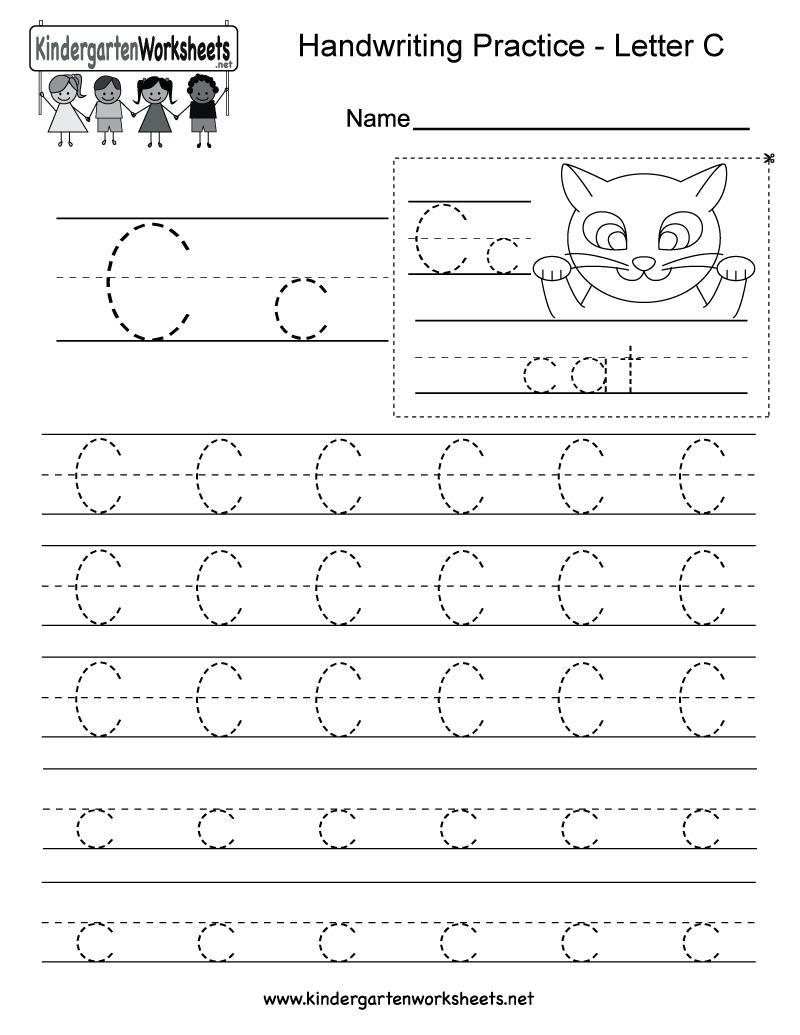 Letter C Writing Practice Worksheet - Free Kindergarten English - Free Printable Preschool Worksheets Letter C