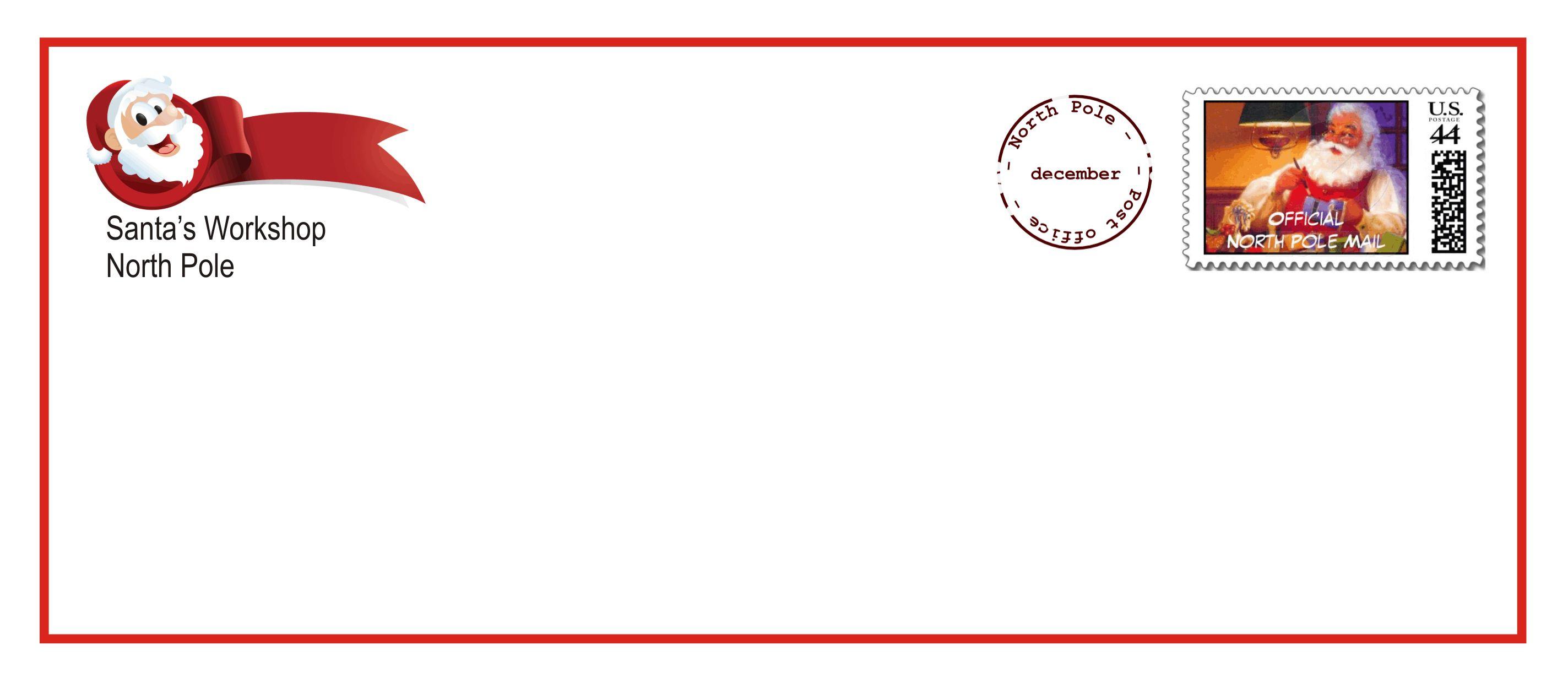 Letter From Santa Envelope Template | Free Printables | Christmas - Free Printable Christmas Letters