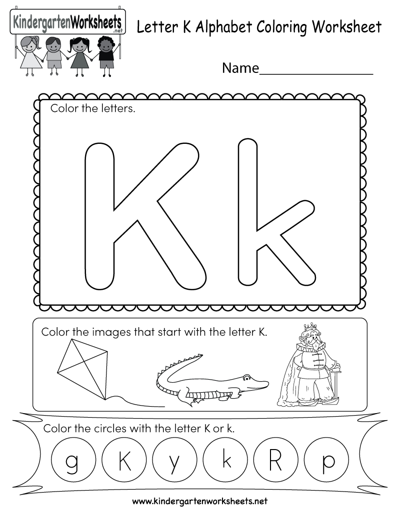 Letter K Coloring Worksheet - Free Kindergarten English Worksheet - Free Printable Letter K Worksheets