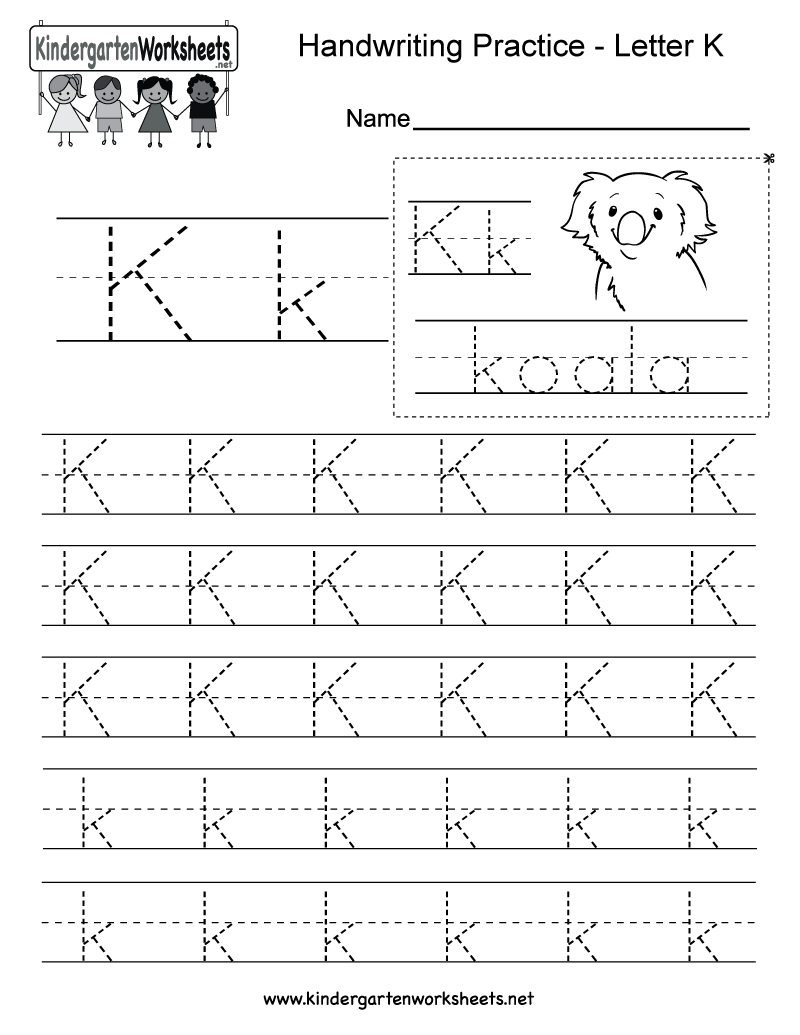 Letter K Writing Practice Worksheet - Free Kindergarten English - Free Printable Letter K Worksheets