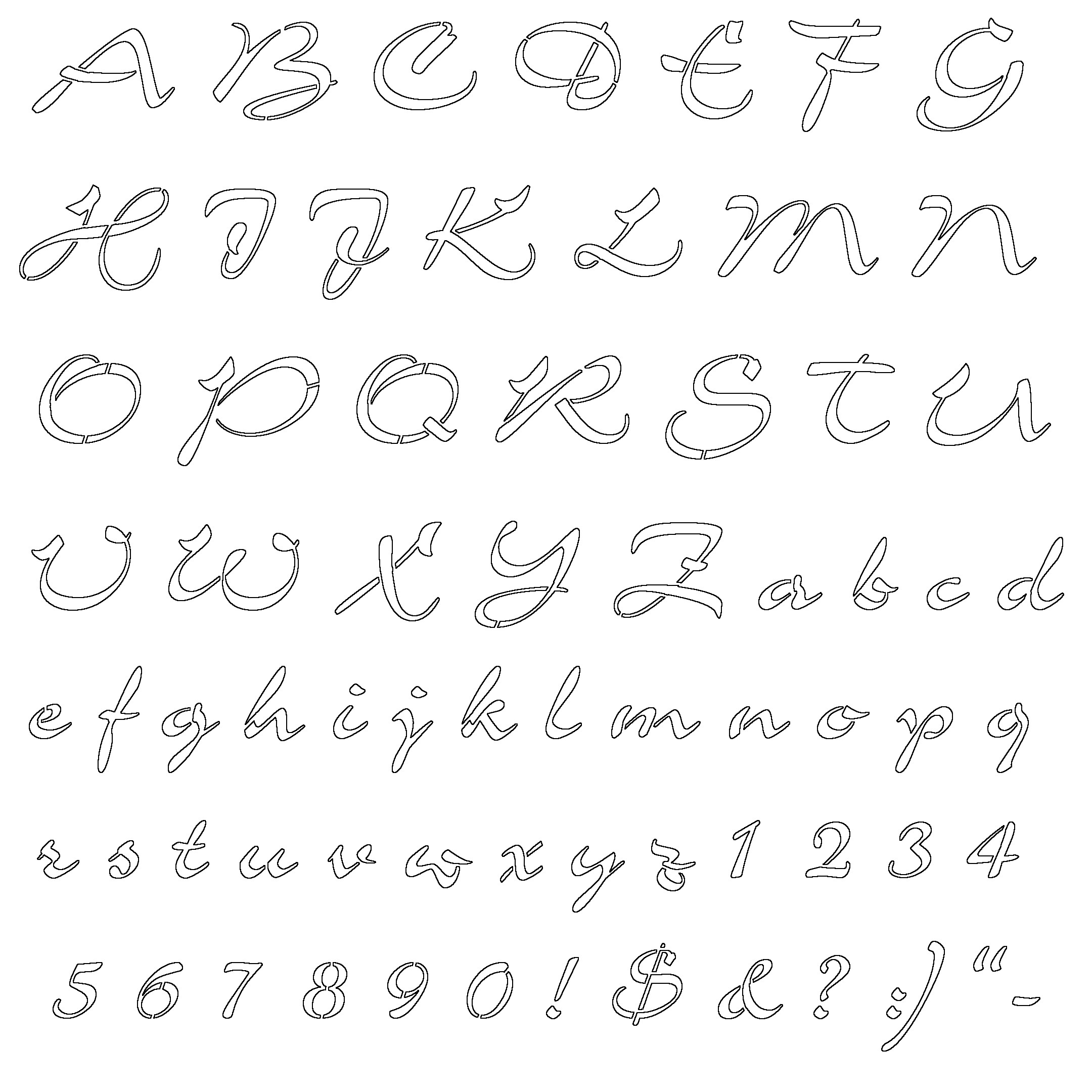 Letter Number Stencils Printable Refrence Free Alphabet Cover Large - Free Printable Calligraphy Letter Stencils