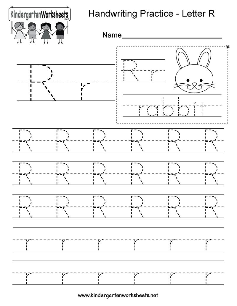 Letter R Writing Practice Worksheet - Free Kindergarten English - Free Printable Preschool Worksheets For The Letter R