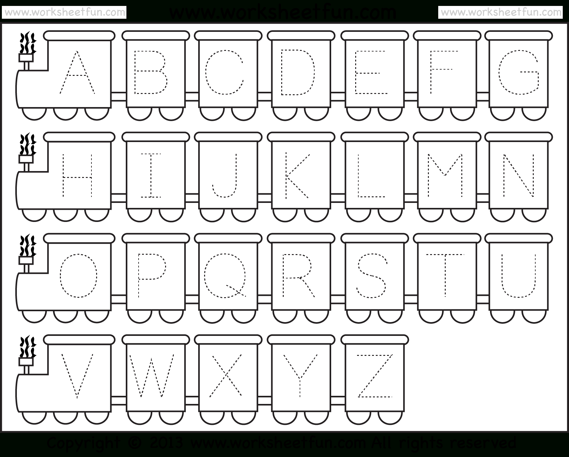 Letter Tracing Worksheet – Train Theme / Free Printable Worksheets - Free Printable Letter Tracing Sheets