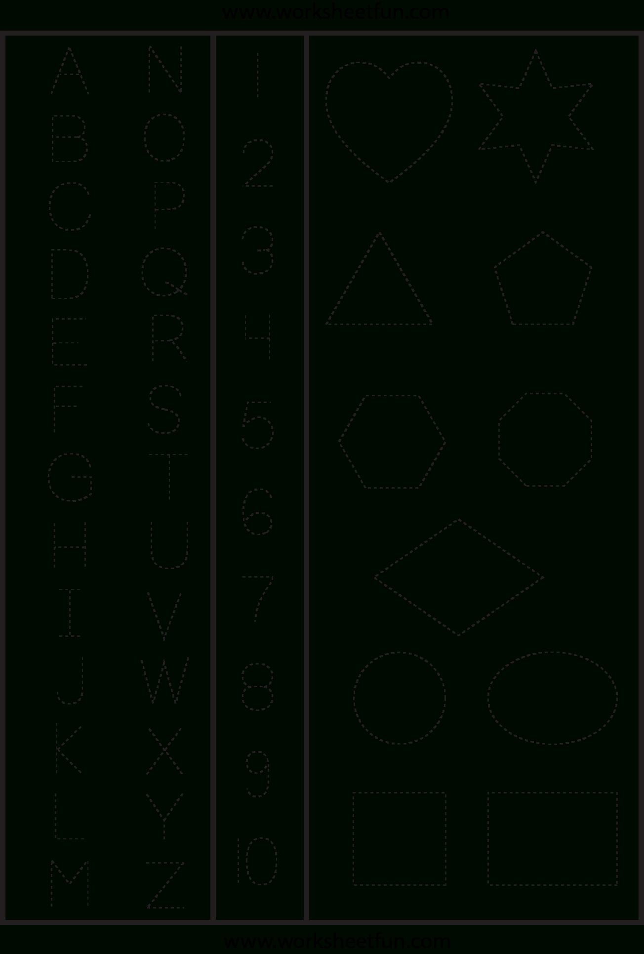Letters Numbers & Shapes Tracing Worksheet | Printable Worksheets - Free Printable Tracing Letters And Numbers Worksheets