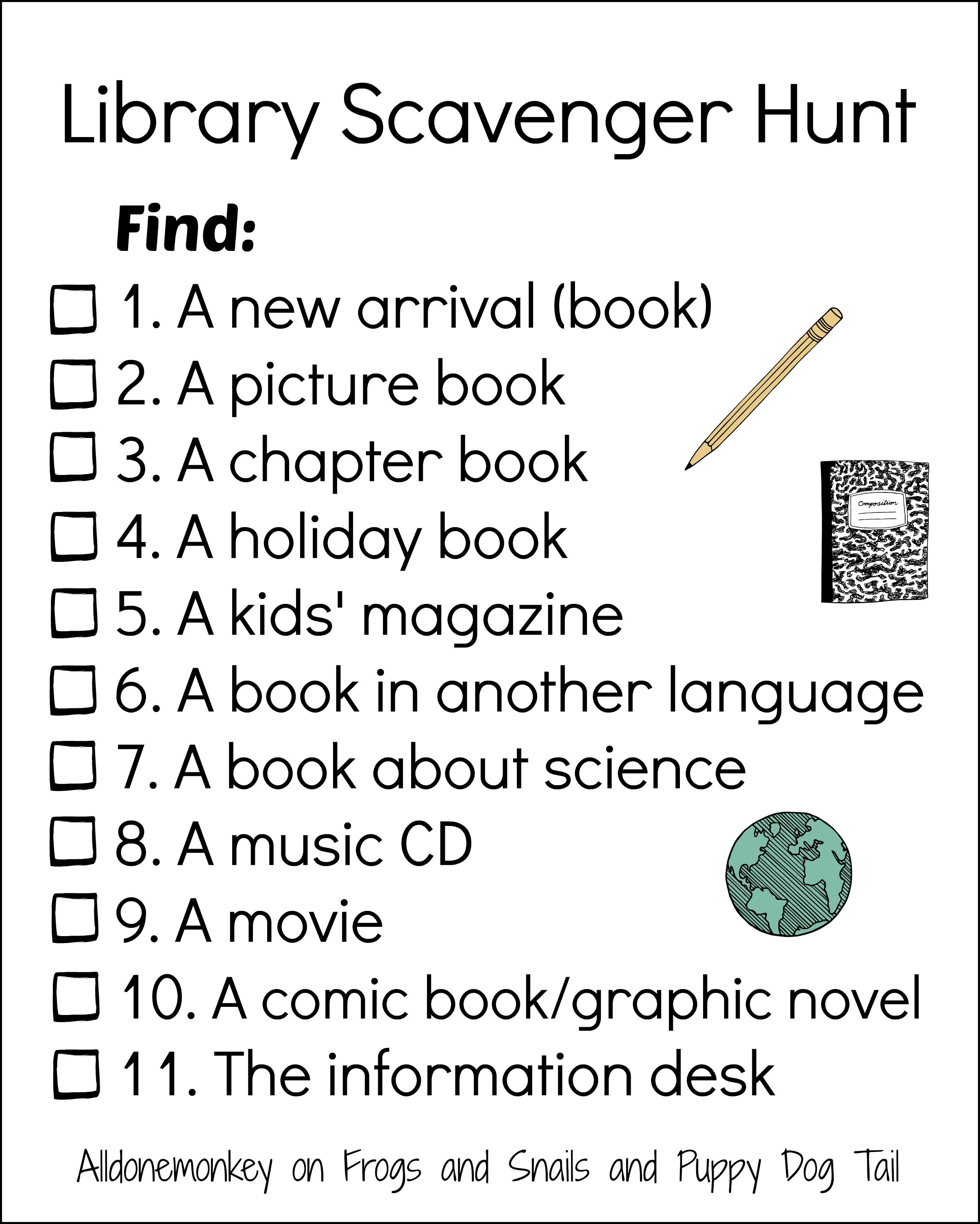 Library Scavenger Hunt | Elementary Library Ideas | Pinterest - Free Printable Library Skills Worksheets