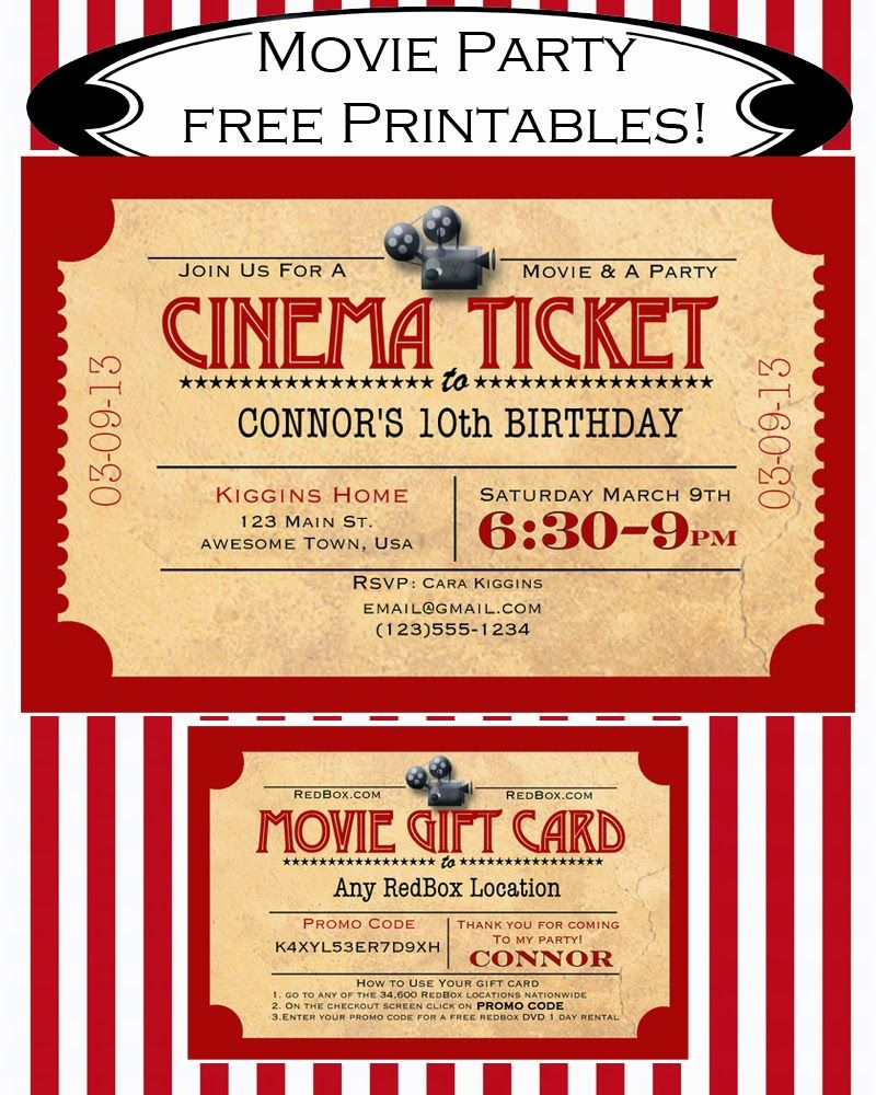 Like Mom And Apple Pie: A Summer Of Movies! Free Printables! | Diy - Movie Night Birthday Invitations Free Printable