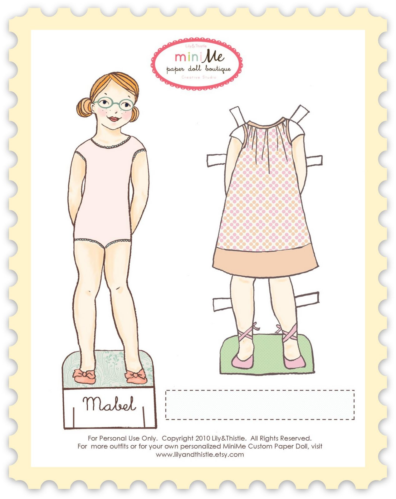 Lily & Thistle: Meet Mabel. Free Printable Paper Doll - Free Printable Paper Dolls