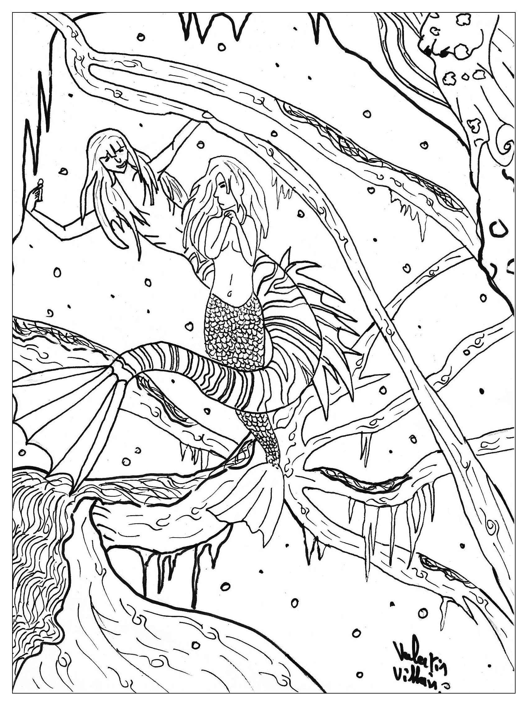 Little Mermaid - Fairy Tales Adult Coloring Pages - Free Printable Coloring Pages Fairies Adults