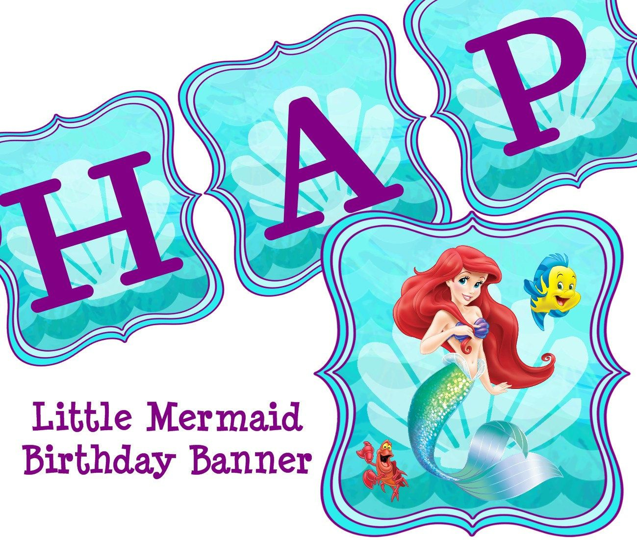 Little Mermaid Free Party Printables - Buscar Con Google | Petite - Free Printable Little Mermaid Birthday Banner