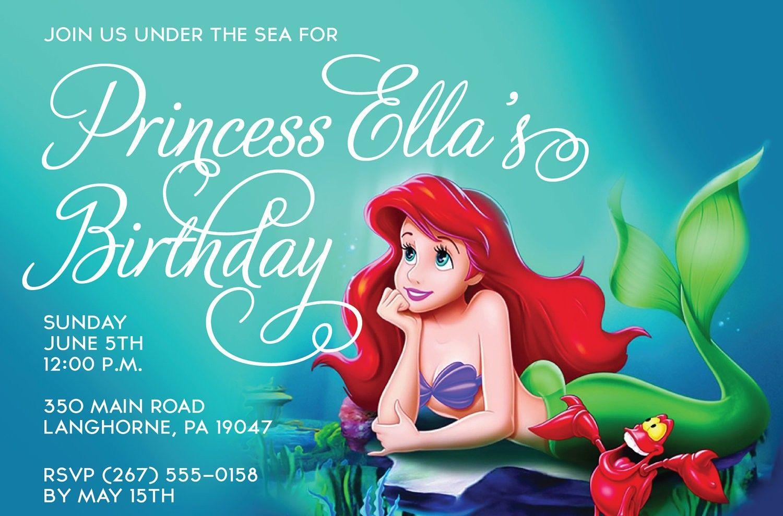 Little Mermaid Invitations Free Printable | Mermaid Invites - Free Little Mermaid Printable Invitations