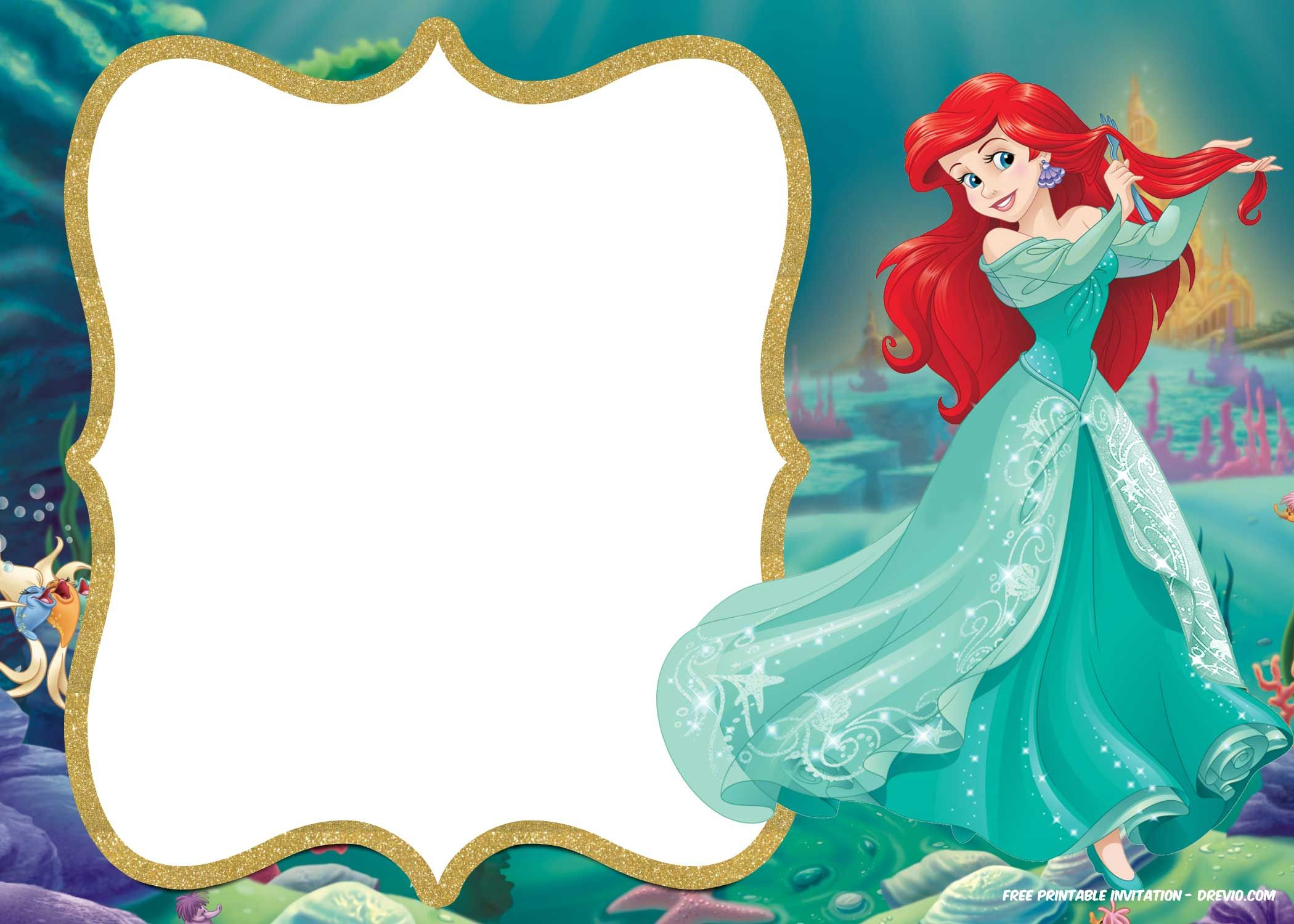 Little Mermaid Royal Invitation | Backgrounds | Little Mermaid - Free Little Mermaid Printable Invitations