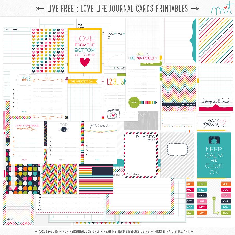 Live Free : Love Life » 73 Free Printable Journal Cards | Misstiina - Free Printable Personal Cards