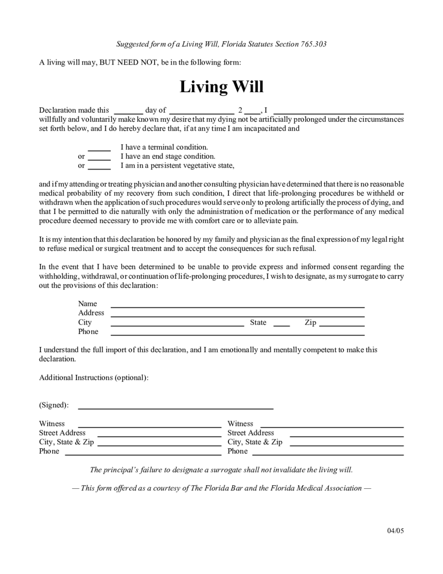 Living Will Forms - Edit, Fill, Sign Online | Handypdf - Free Online Printable Living Wills