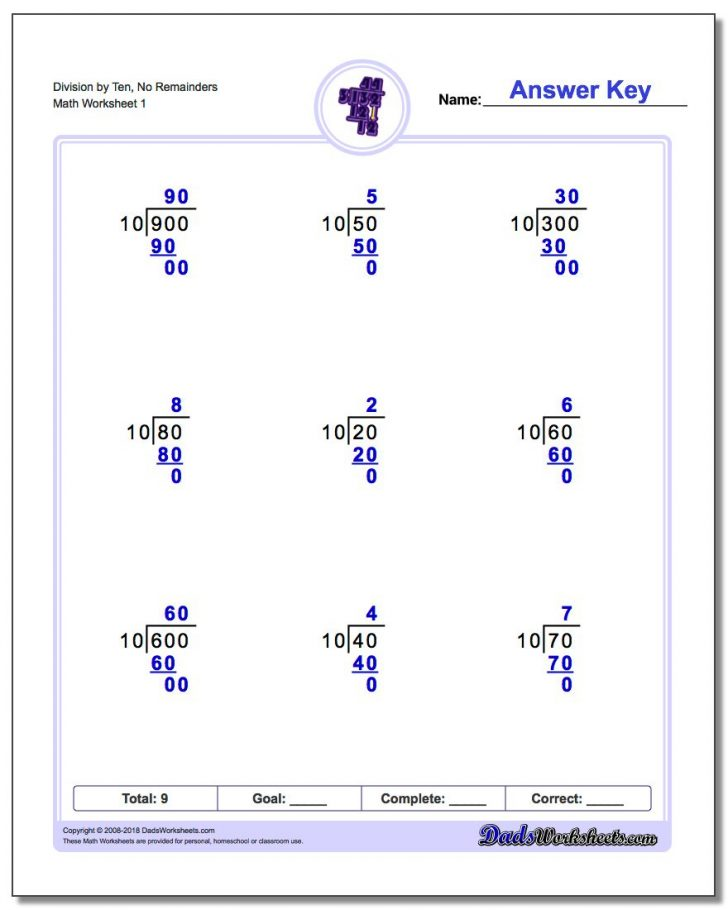 Free Printable Division Worksheets For 4Th Grade