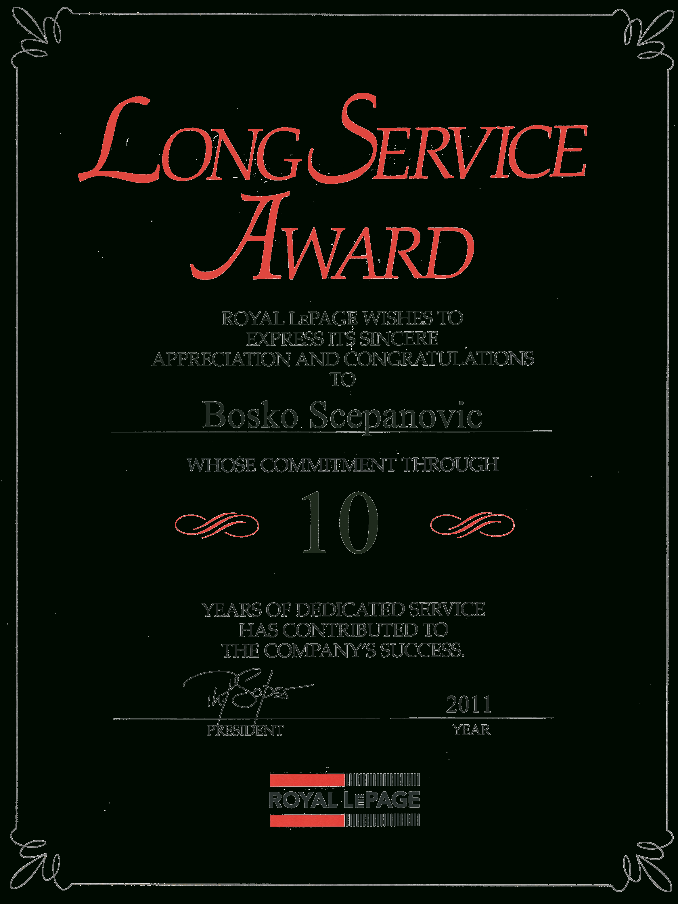 Long Service Award Certificate Template Free Download Printable 46 - Commitment Certificate Free Printable